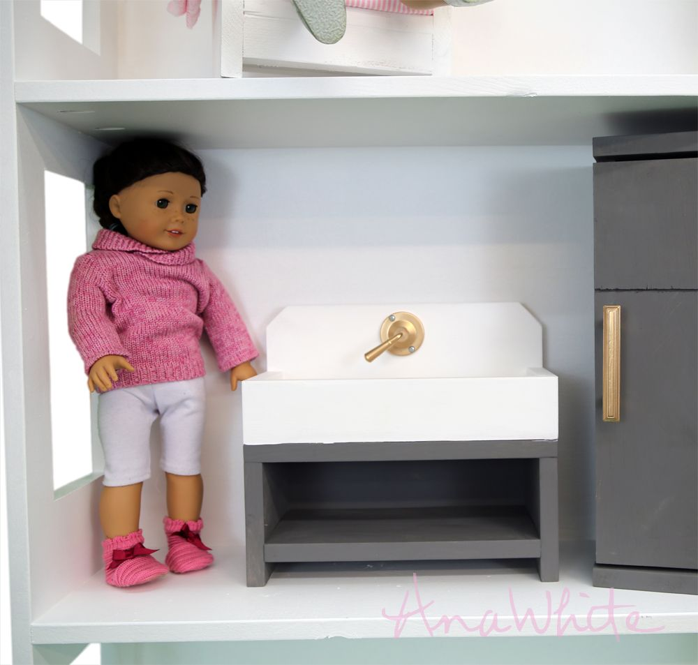 """American Girl or 18"""" Doll Kitchen Sink Farmhouse Style"""