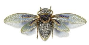 Cicada, an 1890s diamond, sapphire and cabochon cat's eye crysoberyl brooch by Boucheron, with wings in plique-a-jour enamel and caliibre by iownthetiara