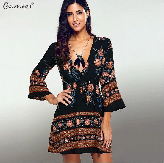 2e0f7ba8450 Printed Dress V-neck Floral Summer Mini Dresses Causal Vintage Boho  Vestidos | eBay