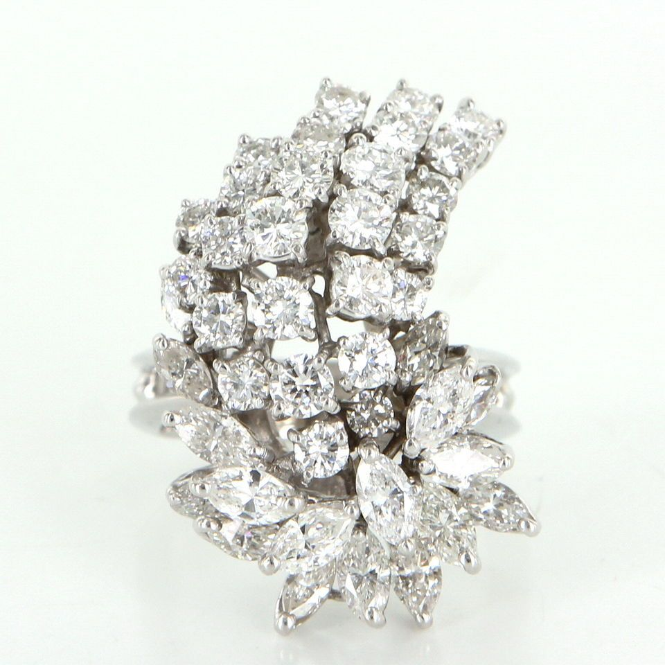 Vintage 352ct Diamond Cluster Cocktail Ring 14k White Gold Estate