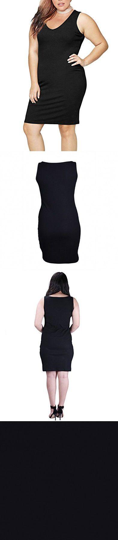HDE Womens Plus Size Tank Top Dress Bodycon Casual Basic Sleeveless V Neck  Tunic (Black b7c38b965