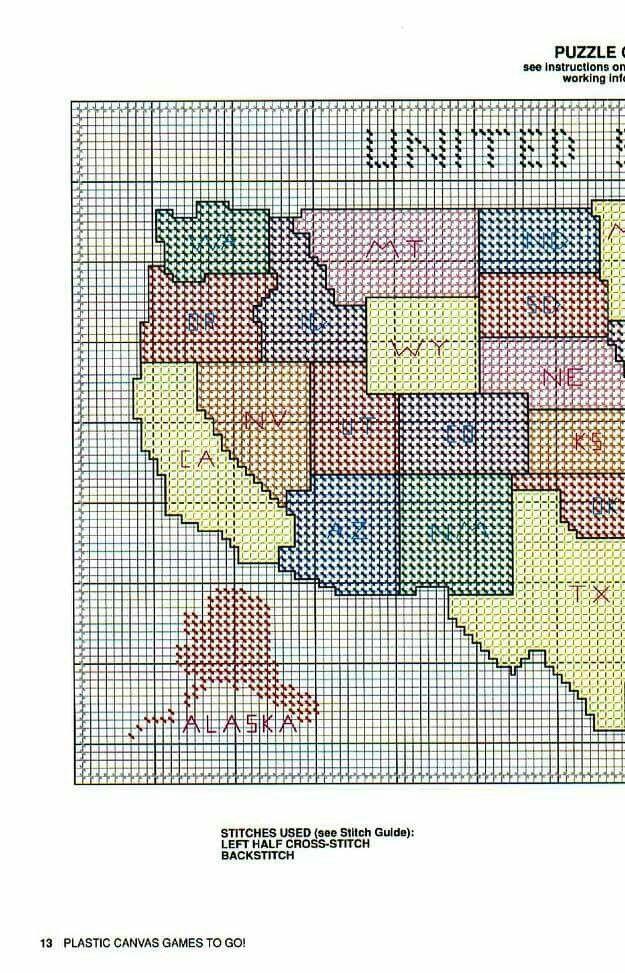 United States Plastic Canvas Patterns Cross Stitch Map Canvas