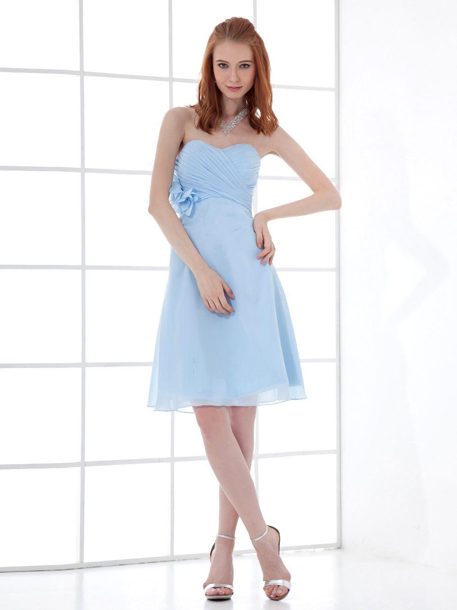 Sweetheart chiffon column bridesmaid dress with surplice bodice and