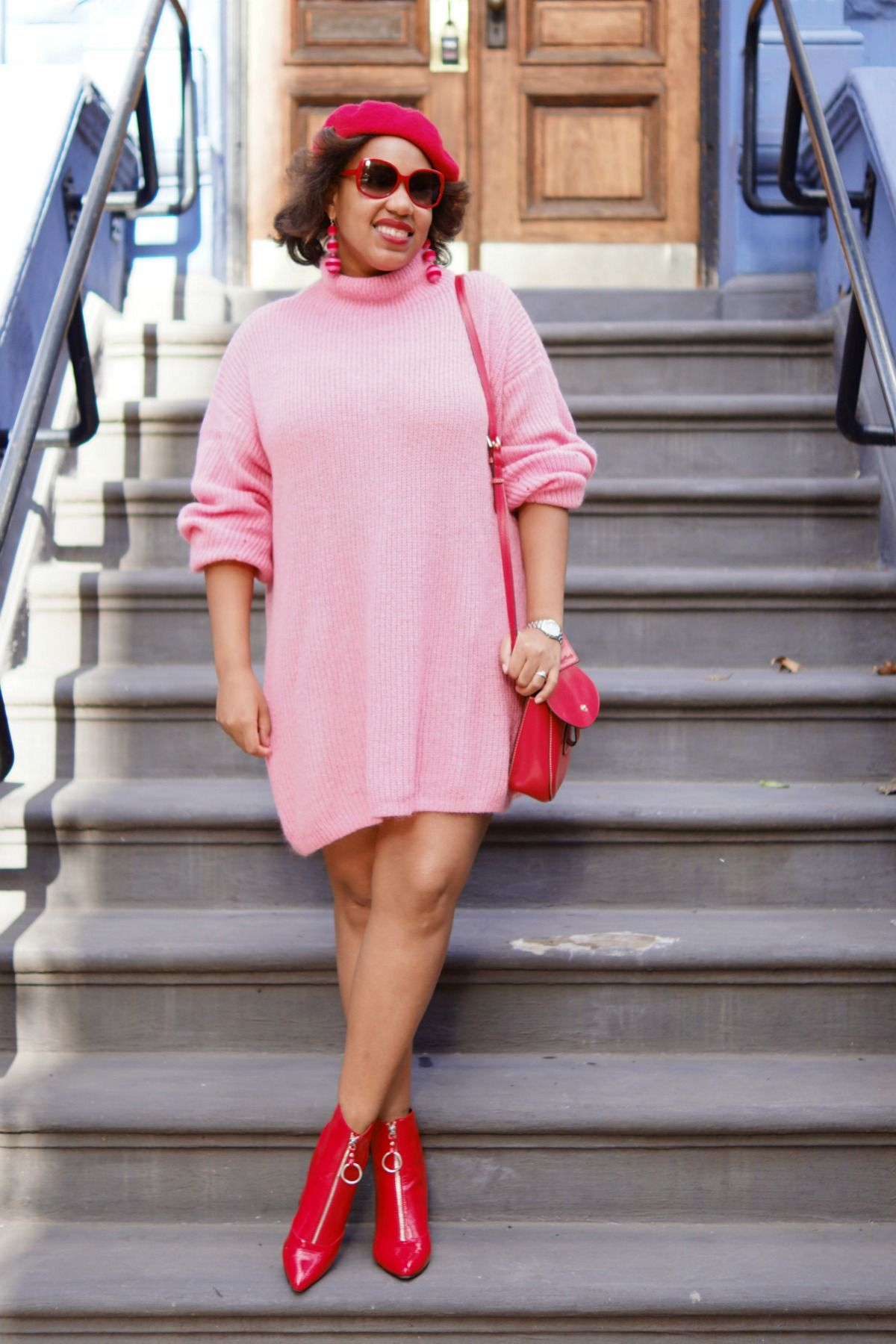 Pink & Red | Red ankle boots, Red sweater dress and Nyc fashion