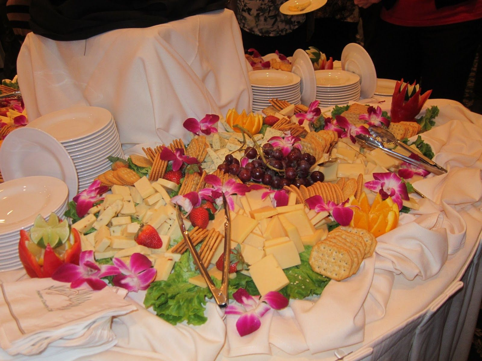 Cheese and cracker display wedding cocktail hour