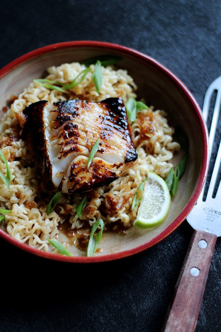 Sablefish With Ginger Soy Glaze Over Ramen Noodles Recipe Cod Recipes Healthy Fish Recipes Healthy Cod Fish Recipes