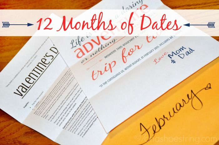 12 Months Of Dates Wedding Gift: 12 Months Of Date Ideas For Couples With Printables
