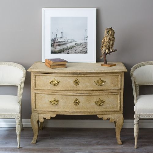 Swedish Baroque Chest of Drawers, ca 1750 with a pair of Gustavian barrel back armchairs, Stockholm Ca 1790, Ephraim Ståhl art.