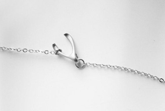 Sideways wishbone necklace .925 STERLING SILVER Chain by spellingB, $26.00