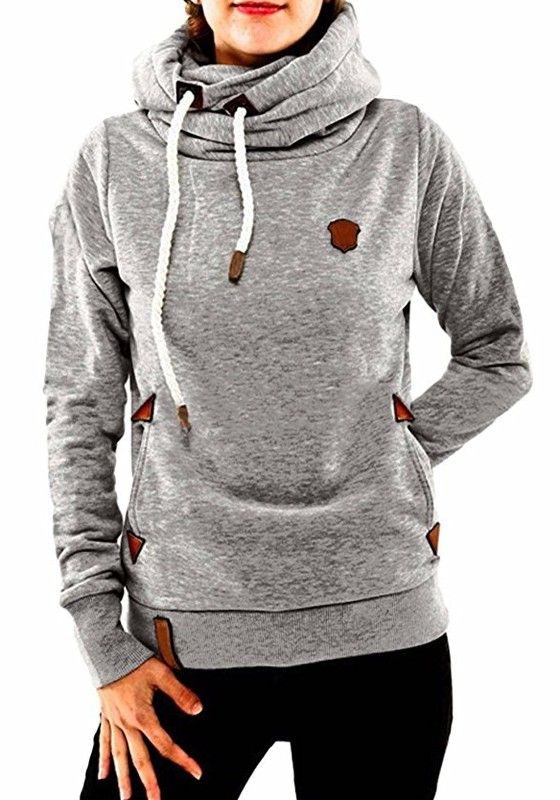 Light Grey Badge Drawstring Cowl Neck Vogue Hooded Casual Pullover ...
