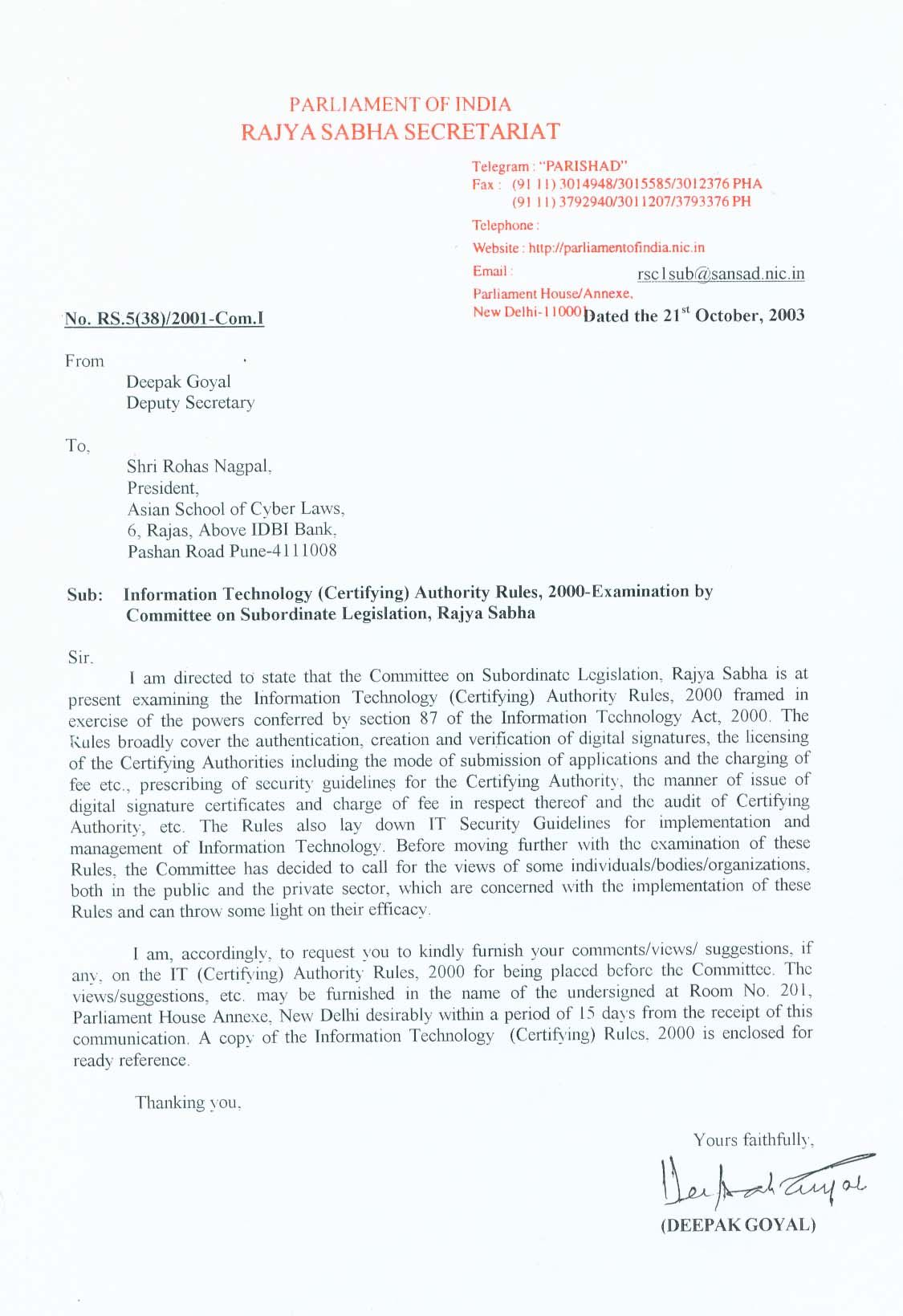 Letter Requesting Comments About The It Certifying Authority