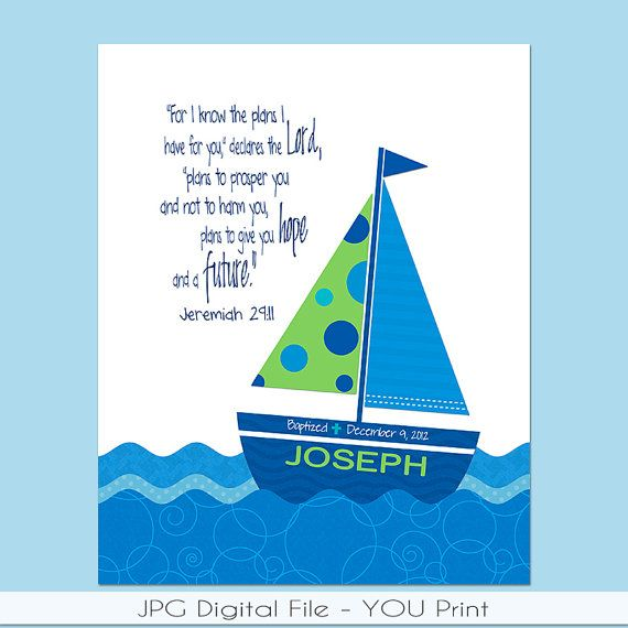 Explore Baby Shower Nautical, Nautical Theme, And More! Personalized  Sailboat PRINTABLE With Bible Verse ...