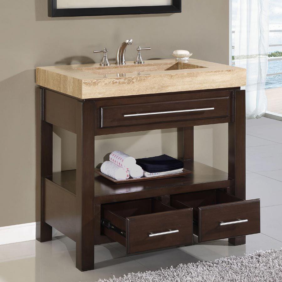 modern single bathroom vanity. Modern Single Sink Bathroom Cabinet Unit Ideas Dark Walnut Vanity With Storage Drawers And Open Shelf Beige Antique Travertine Countertops