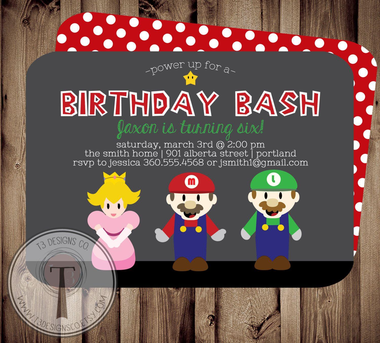 Super Gamer Birthday Invitation, super brothers, gamer birthday ...