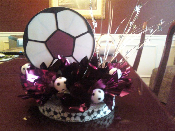 Soccer Banquet Centerpiece This Is Soccer But Could Easily Be Converted To Volleyball Or Bask Soccer Birthday Parties Soccer Theme Parties Soccer Centerpieces