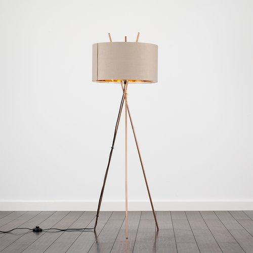 Seiter 138 5cm Tripod Floor Lamp Wrought Studio Shade Colour Beige Floor Lamp Copper Floor