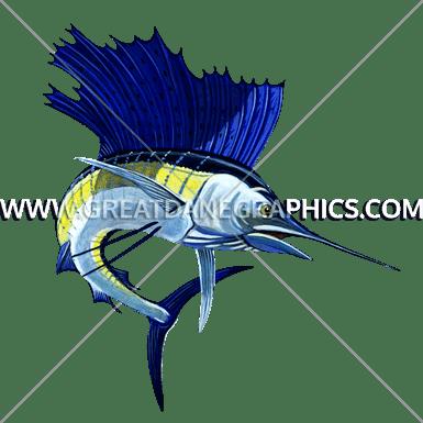 Sailfish Production Ready Artwork for TShirt Printing
