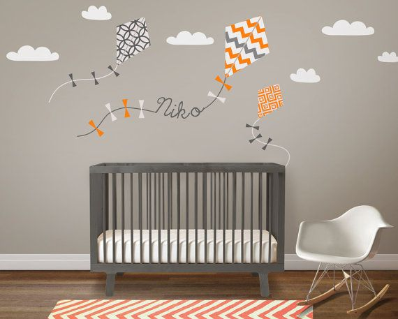 Nursery Wall Decal Kids Sticker Kite With Custom Name On Etsy 95 70 Cad