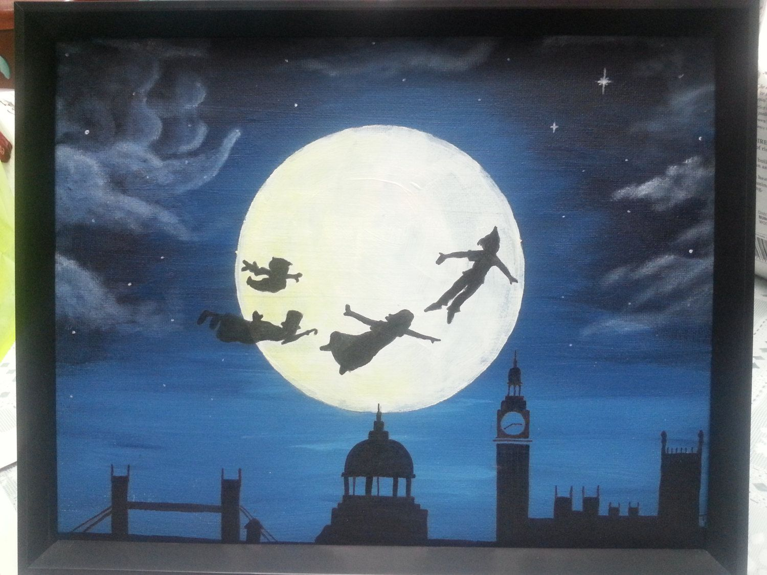 Mural Painted Peter Pan Flying Neverland With Wendy John Tylortaylor 25.00