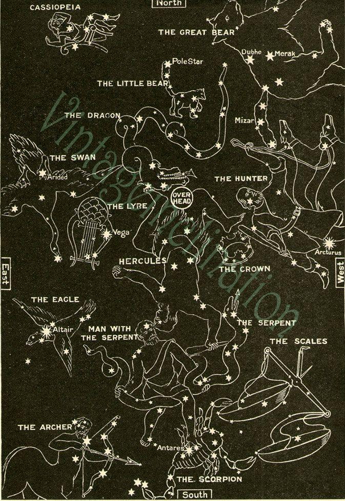 Vintage Star Chart Spring Summer Celestial Maps