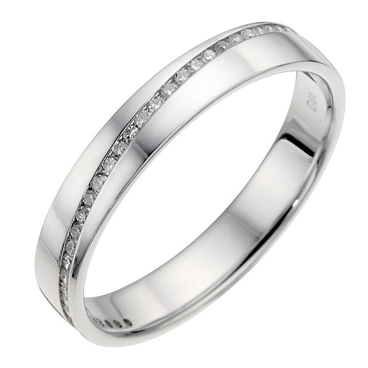18ct white gold diagonal diamond set wedding ring White gold