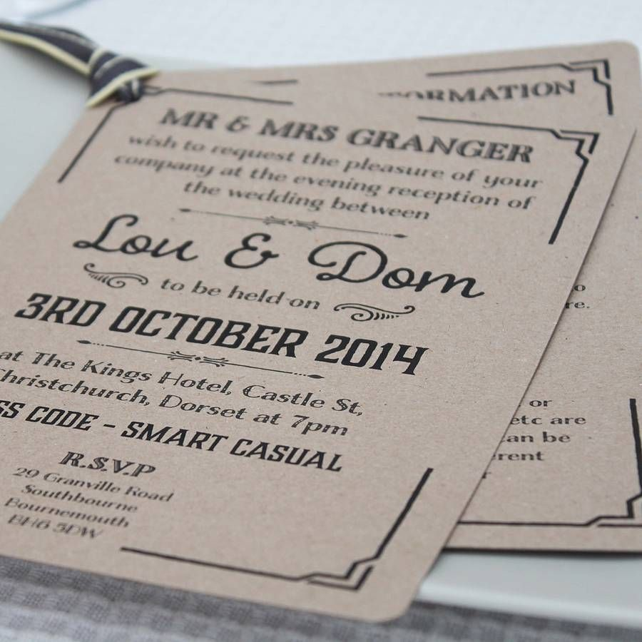Gatsby Style Wedding Evening Invitation By Lou Brown Designs Notonthehighstreet