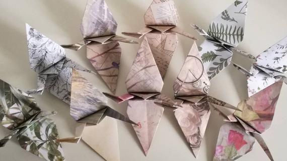 Photo of Set of 10 handmade origami cranes (Soft Botanic designs).