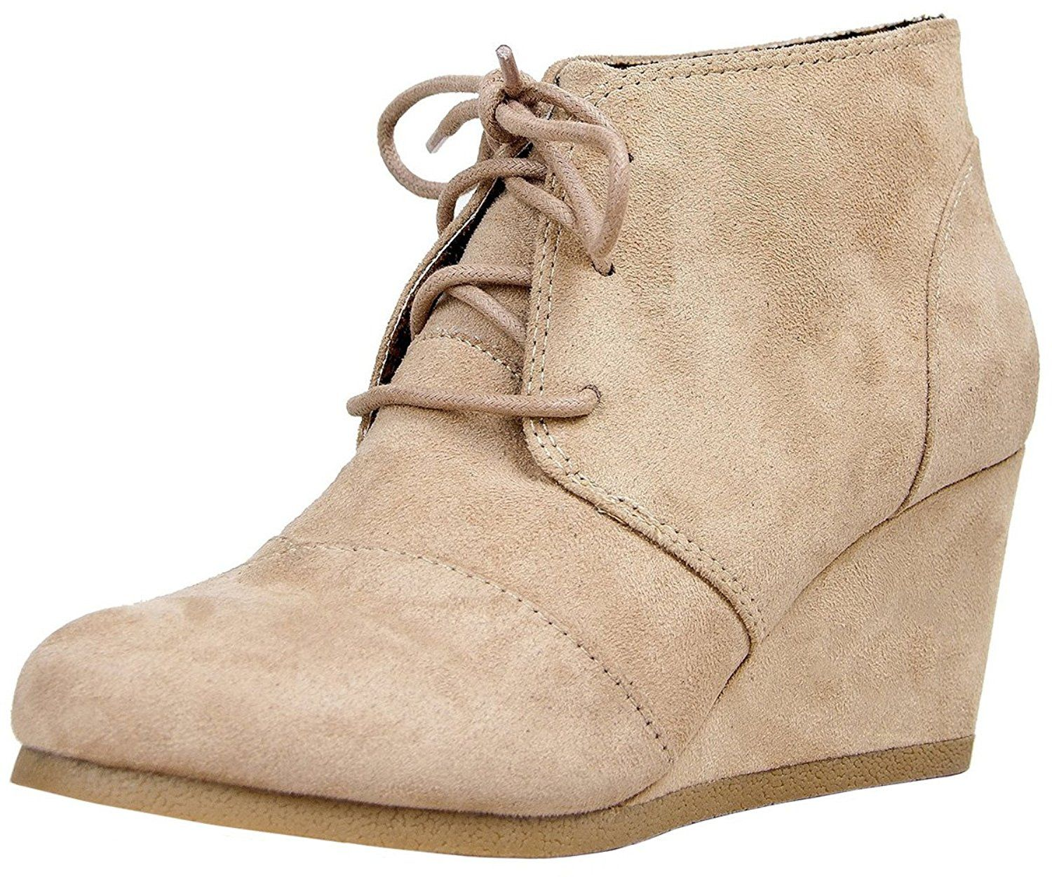 2805b5d1cfd0 Qupid Women s Lace Up Faux Suede Ankle Wedge Booties. 10 Best Black Suede  Boots And Booties. All Boot Wedges. Compare prices on Boot Wedges from top  online ...