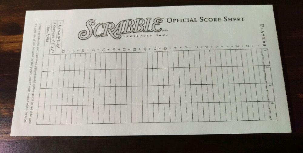 Details About Travel Scrabble Official Replacement Score Pad Tally