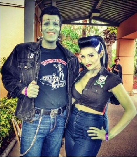 DIY Rockabilly Frankenstein Halloween Couple Costume Idea