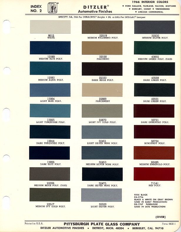 1966 Mustang Interior Paint Charts Maine Mustang British Motors Tele Color 1 Pinterest