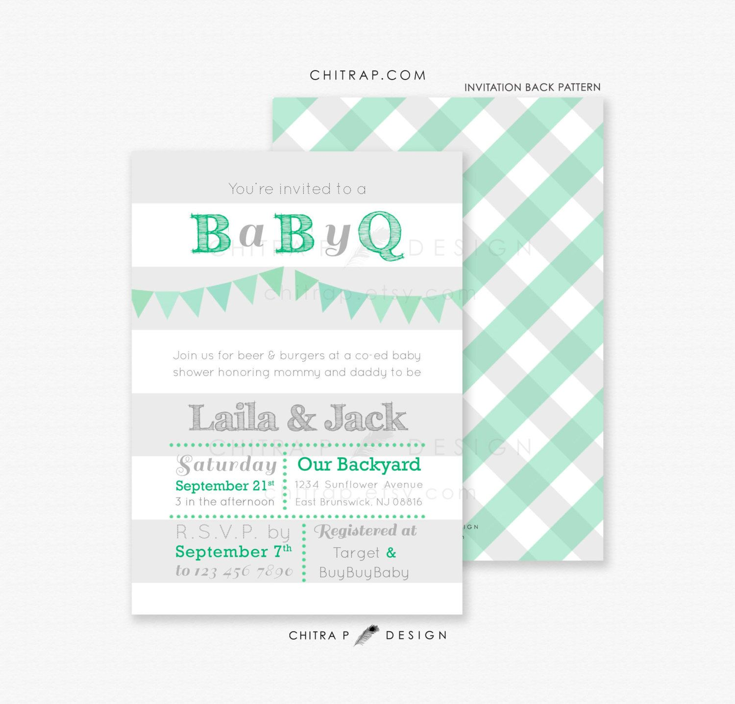 Green Baby Q Shower Invitations - Printed, Blue Boy Grey BBQ Couples ...