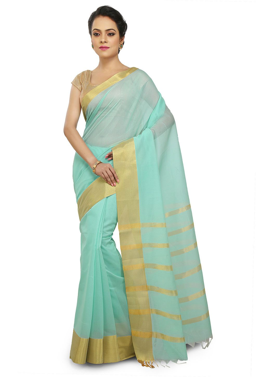 1f88dccf1531c4 Cotton Silk Saree in Sky Blue This Drape is Elegantly Woven in Zari and  Enhanced with Fringes Available with an Unstitched Cotton Silk Blouse in Sky  Blue ...