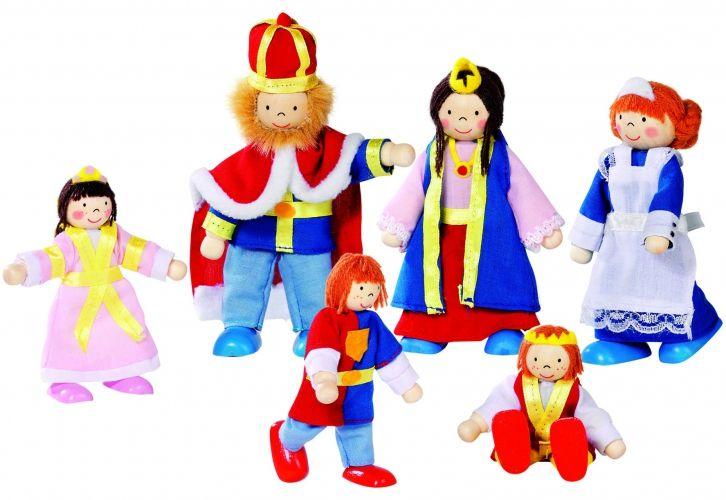 Poppenhuis poppen Koninklijke familie 6 stuks. Set van zes poppen met buigbare armen en benen in de stijl van een Koninklijke familie. De familie bestaat uit een koning en koningin, twee prinsen, een prinses en een bediende. De volwassen poppen zijn 9-11 cm groot.