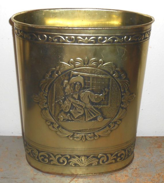 Vintage Trash Can, Wiebro, Brass, Colonial,Trash Bin