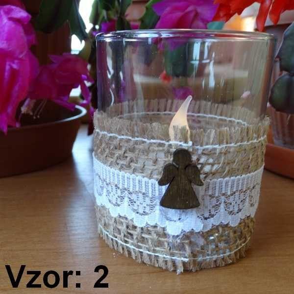 Sklenený svietnik Jarko - Sviečka - S čajovou sviečkou LED (plus 1€), Vzor - Vzor 2