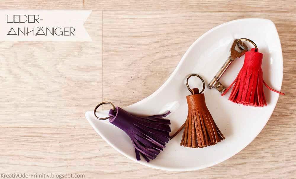 Schlüsselanhänger, Leder, Bommel, DIY, Selber Machen