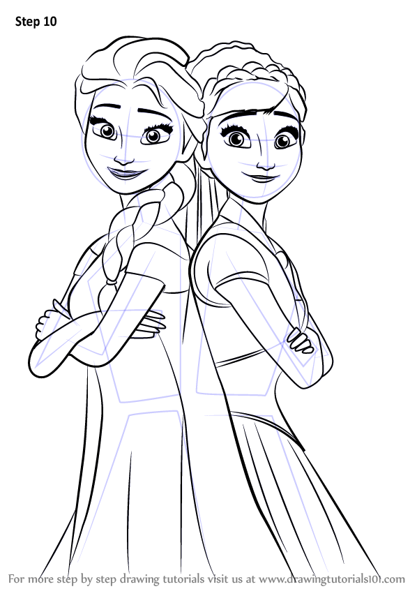 Learn How To Draw Elsa And Anna From Frozen Fever Frozen Fever Step By Step Drawing Tutorials How To Draw Elsa Princess Drawings Frozen Drawings