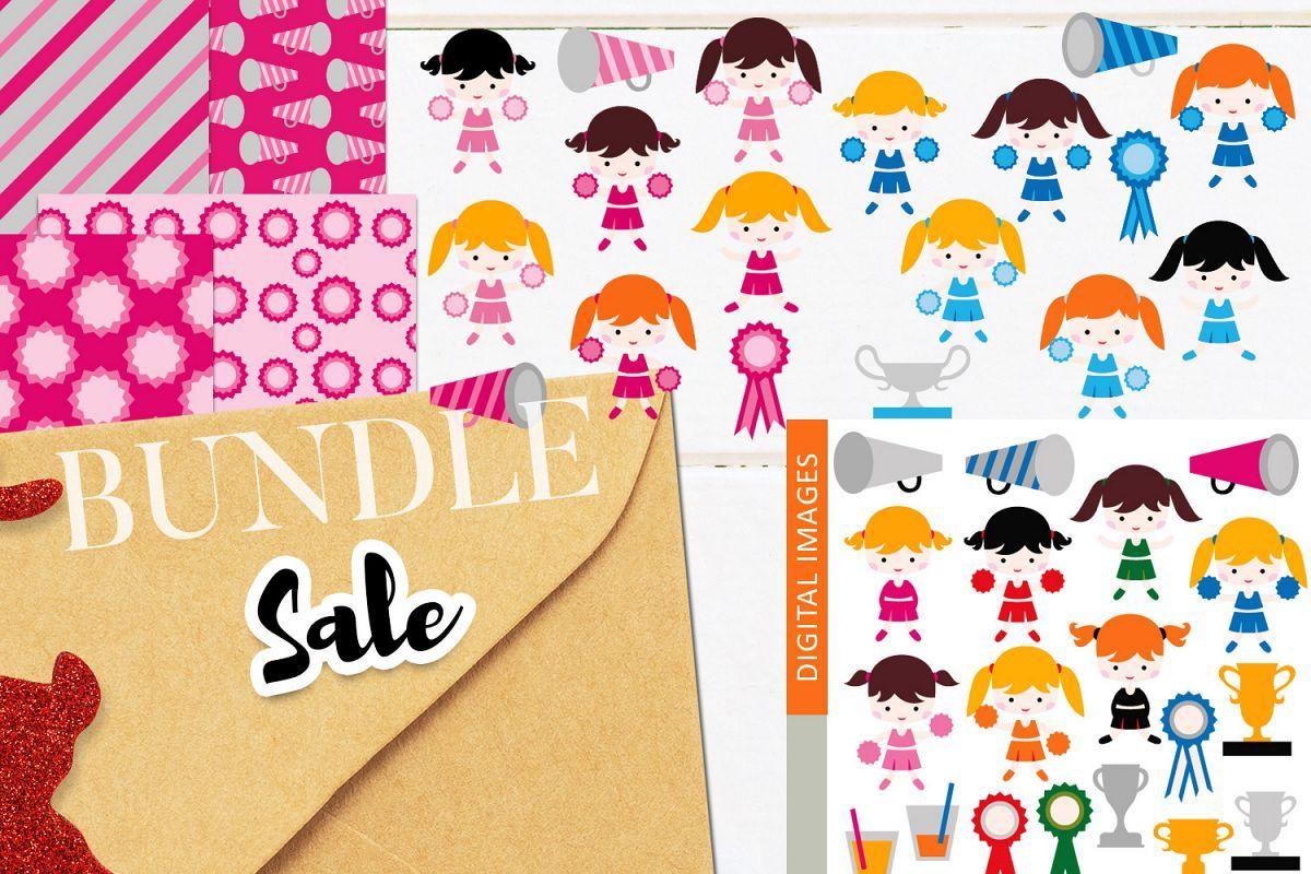 Cheerleaders clip art illustrations bundle clipart