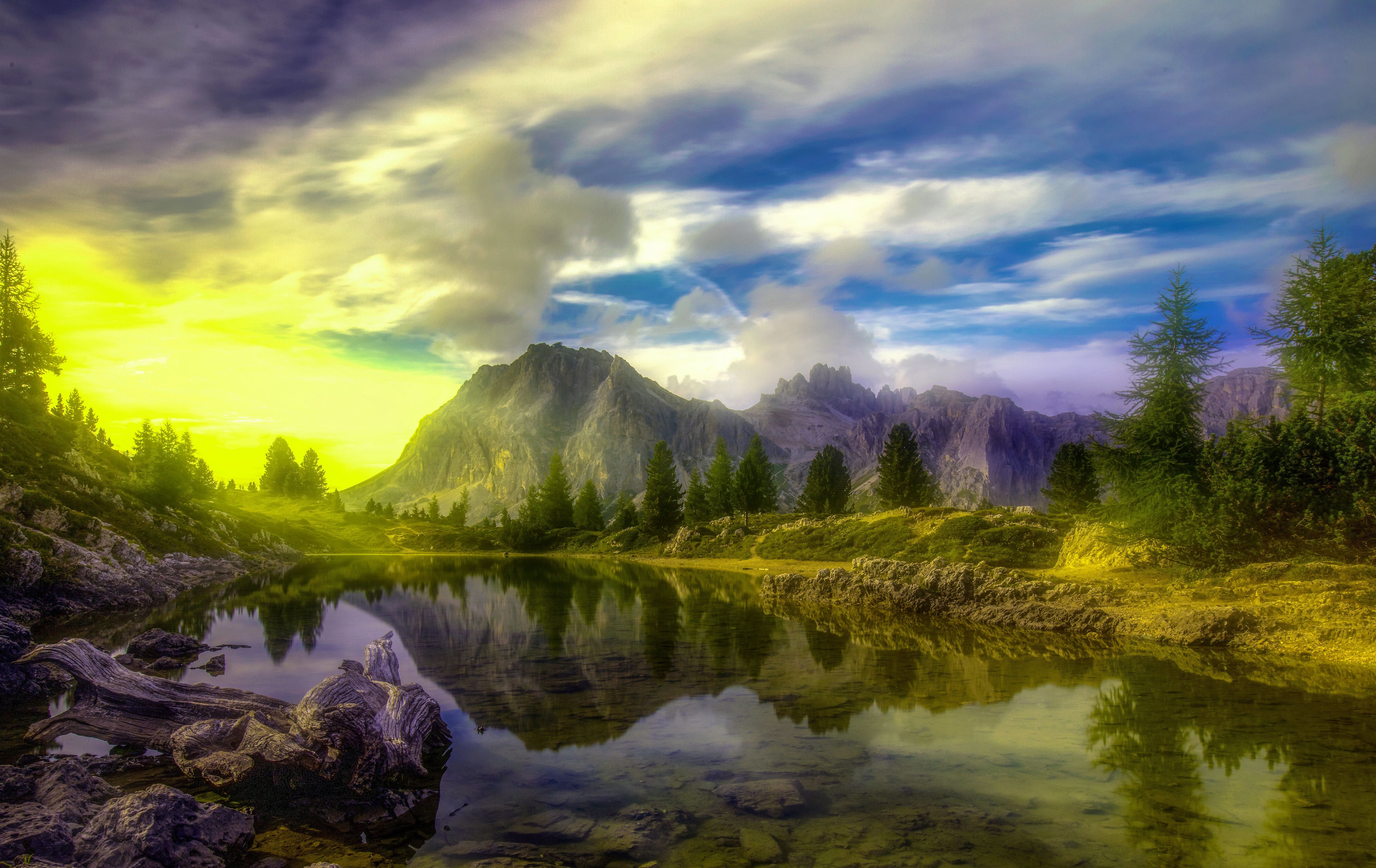 Lake Dolomites Trees Alps Hd Nature Wallpapers Nature Wallpaper Nature Hd Wallpaper