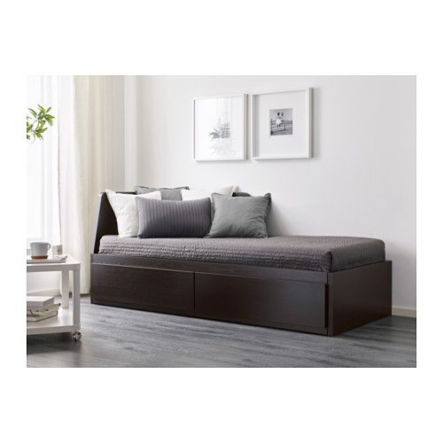 Flekke Daybed Frame With 2 Drawers Black Brown Twin Idee
