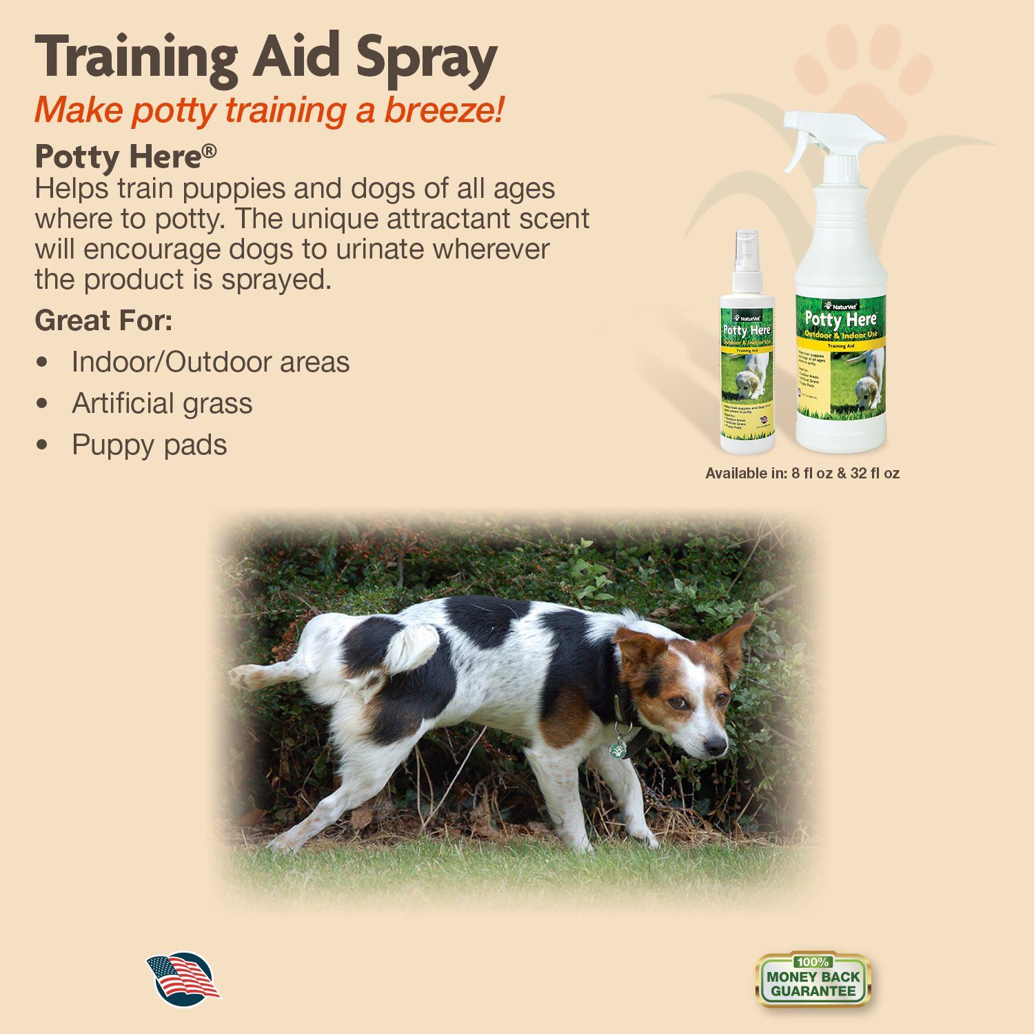 Naturvet Potty Here Training Aid Spray For Puppies And Dogs 32 Oz
