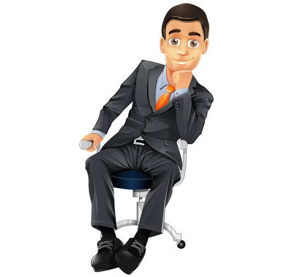 Free Businessman Vector Character Cartooncharacter Vectorcharacter Character Vector Person Drawing Business Man Man Sitting