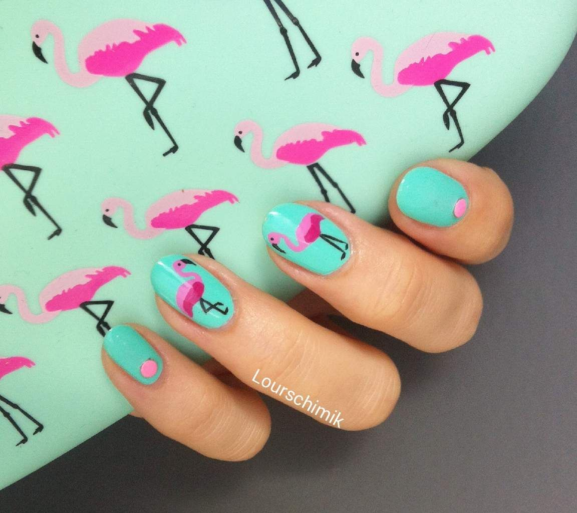 flamingo nails - des flamants roses qui sentent bon l\'été | Polish ...