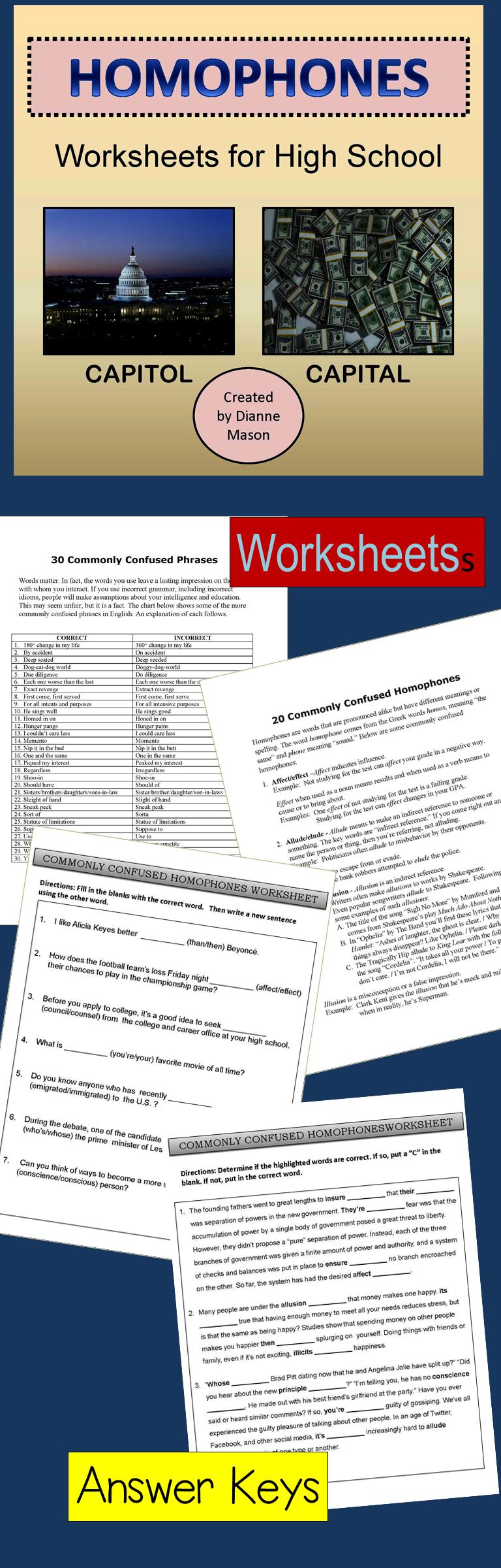 Homophones Worksheets For High School High School English Teaching Resources English Teacher Resources [ 2400 x 768 Pixel ]