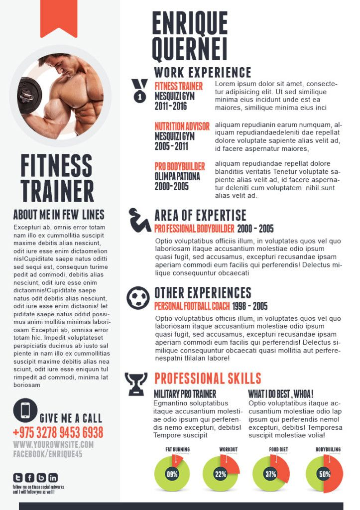 Fitness Trainer Resume Resume Inspiration Pinterest Template