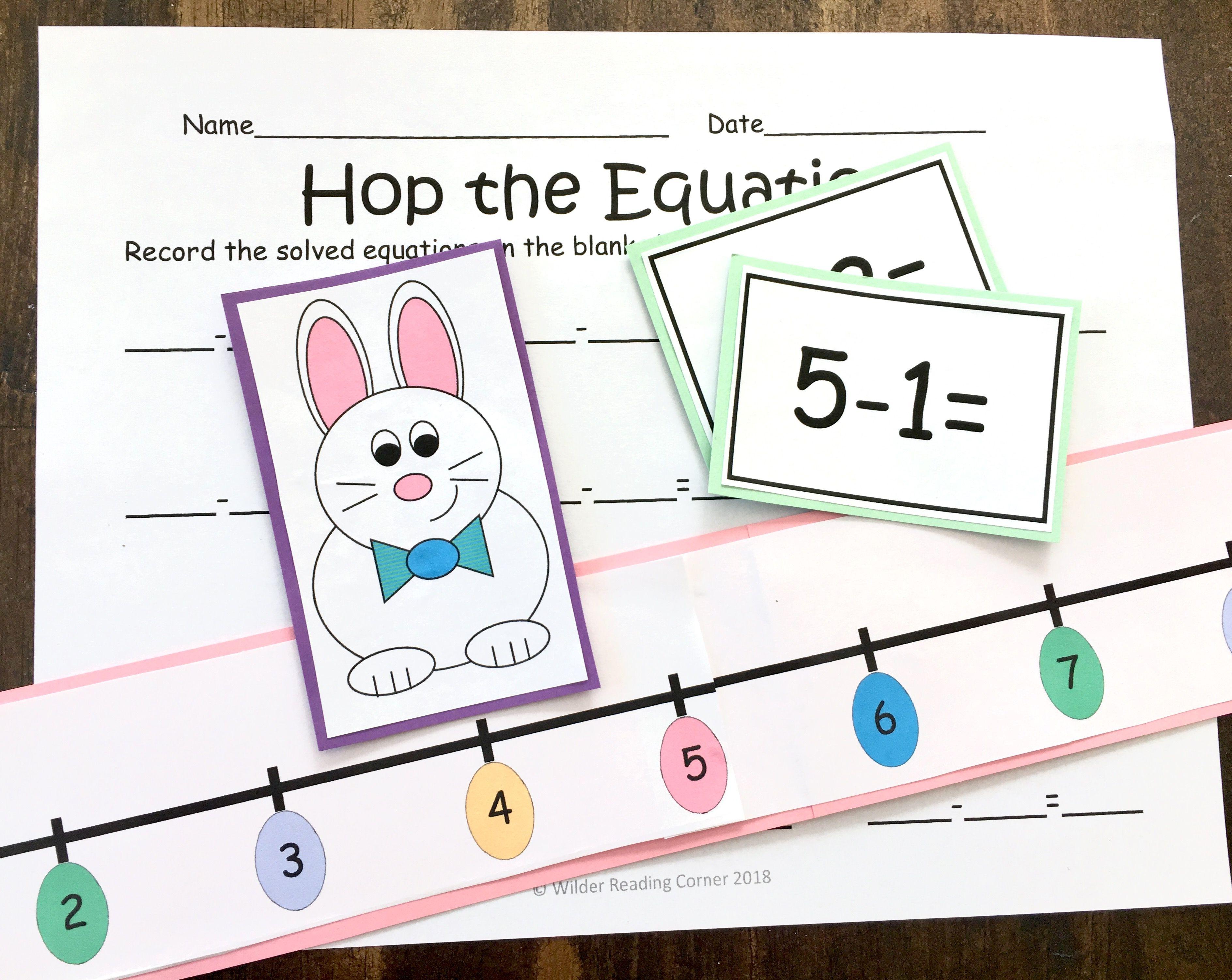 Easter Subtraction Math Center Hop The Equations Easter Math Easter Math Worksheets Kindergarten Math Games [ 3004 x 3775 Pixel ]