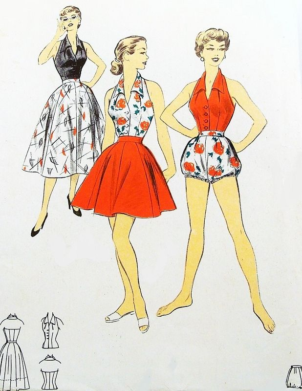 1950s SIZZLING Hot Beachwear Sportswear Pattern ADVANCE 6742 ...