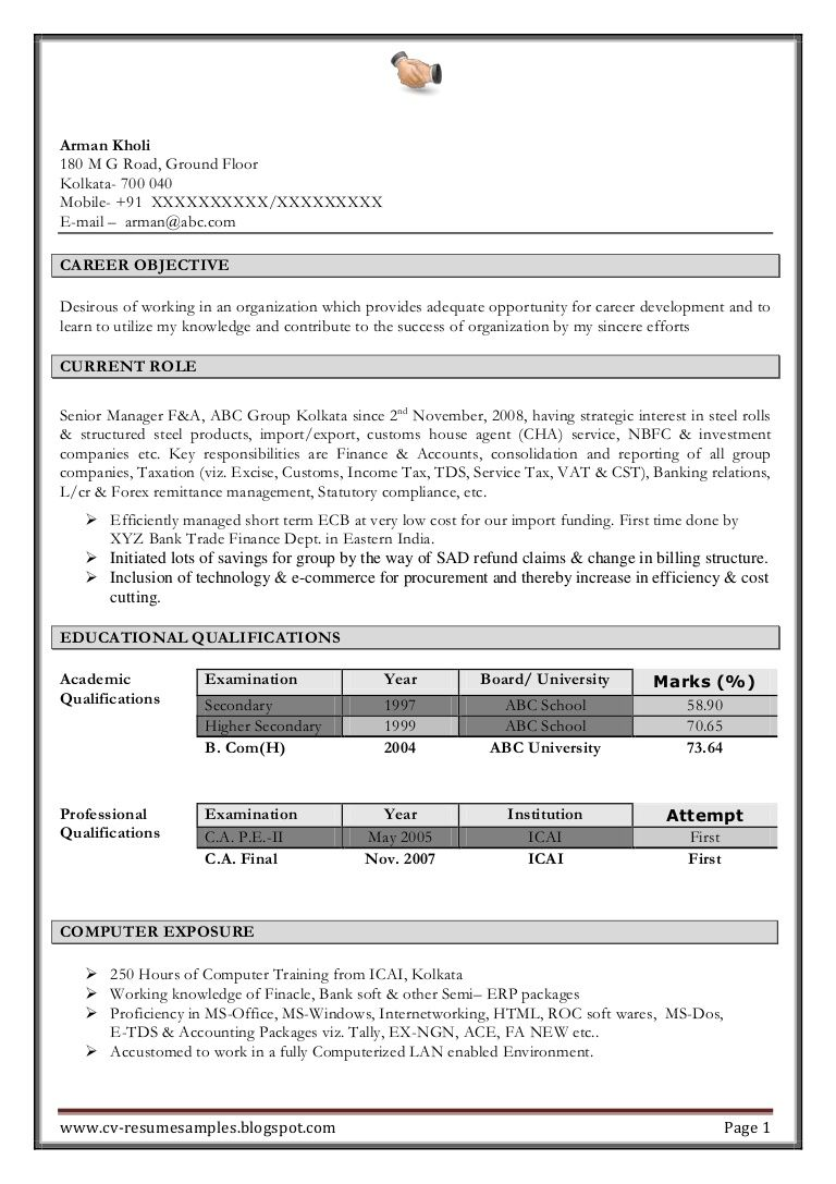 Find free resume download kolkata in 2020 accountant