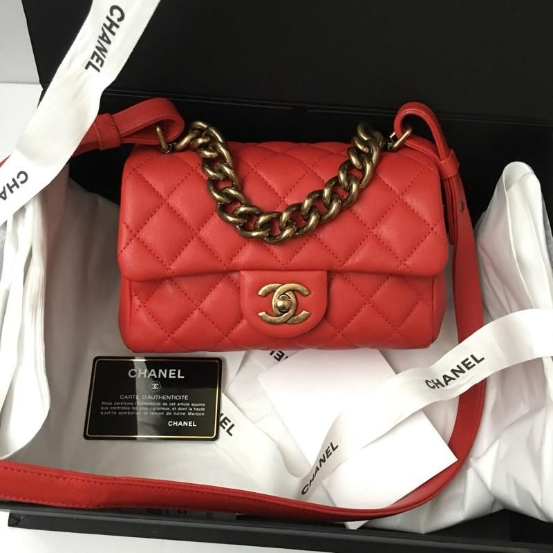 f51752b1ffdf Chanel Trapezio Mini Flap RED Cross Body Bag. Get the trendiest Cross Body  Bag of the season! The Chanel Trapezio Mini Flap RED Cross Body Bag is a  top 10 ...